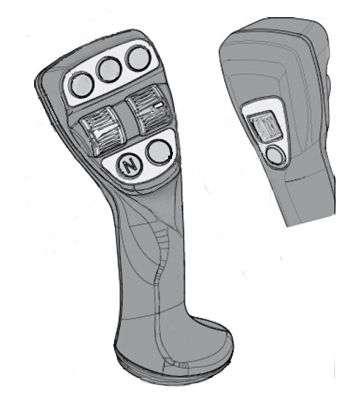 Joystick stosowany w ładowarakch Kramer szary rysunek z widokiem na przełączniki