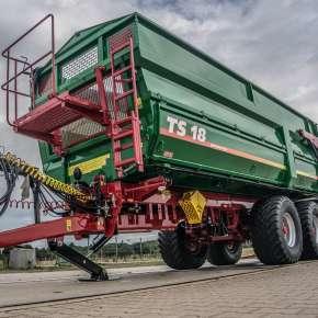 Przyczepa rolnicza TS 18 z firmy Metaltech, tandemowa o zastosowaniu do przewozu zbóż i okopowych