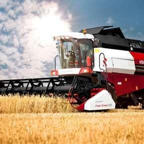 Rostelmash Vector 425 w słońcu na polu na www.korbanek.pl