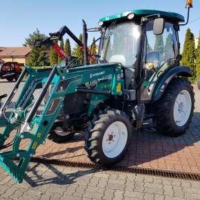 Zielony ładowacz czołowy Hydramet typ Xtreme S zamontowany na zielonym ciągniku rolniczym ARBOS 3055 www.korbanek.pl