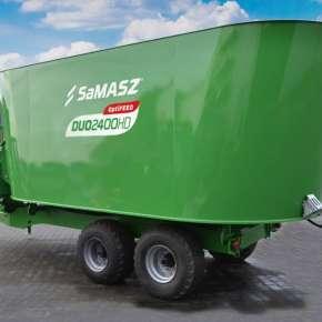 Zielony wóz paszowy na osi tandem z przednią taśmą wyładowczą 2-ślimakowy DUO HD firmy Samasz www.korbanek.pl