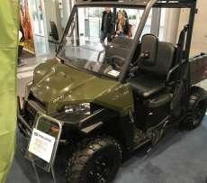 Ranger Polaris 570 EPS kolor zielony paka załadunkowa pasy bezpieczeństwa kierownica samochodowa pasy bezpieczeństwa zderzak przedni metalowy felgi stalowe napęd 2x4 4x4 EPS wspomaganie kierownicy klatka ochronna Korbanek.pl