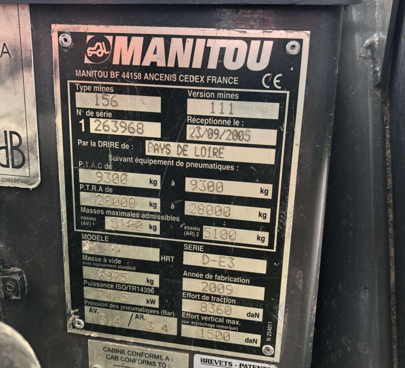 Ładowarka Manitou MLT 731 LSU tabliczka znamionowa