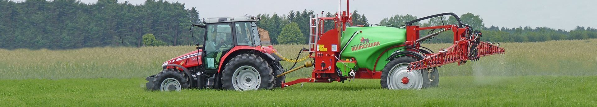Czerwony Ciągnik Massey Ferguson pracujący w polu z opryskiwaczem przyczepianym Krukowiak Goliat Plus widok z boku podczas wykonywania oprysku
