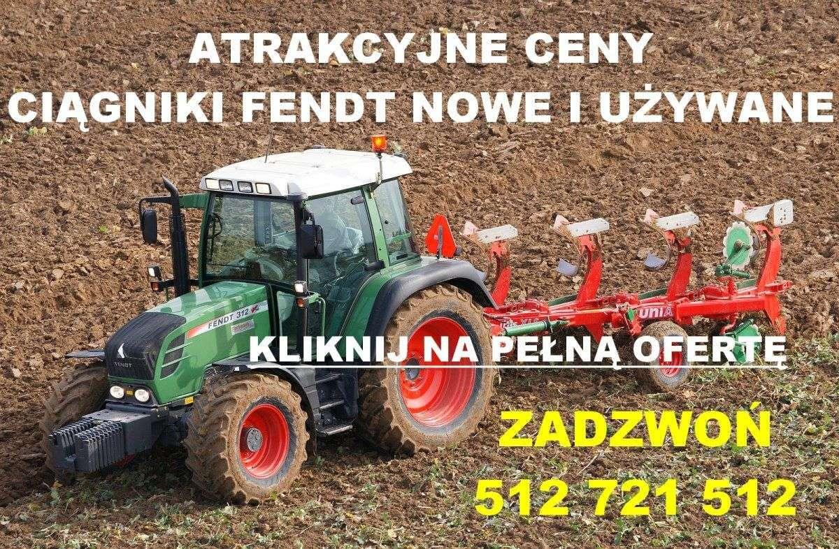 obrazek przedstawiający ciągnik fendt na polu reklamujący oferte na ciągniki