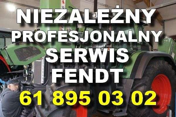 Serwis Fendt biały napis na tle ciągnika Fendt