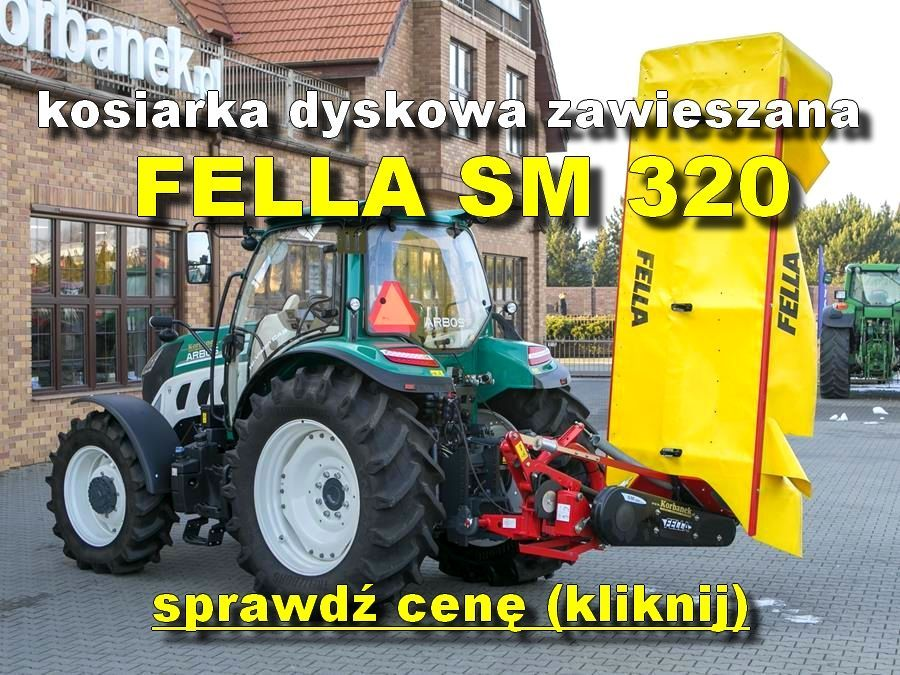 Fella SM 320 kosiarka zawieszana zdjęcie z ciagnikiem Arbos na tle sklepu www.korbane.pl