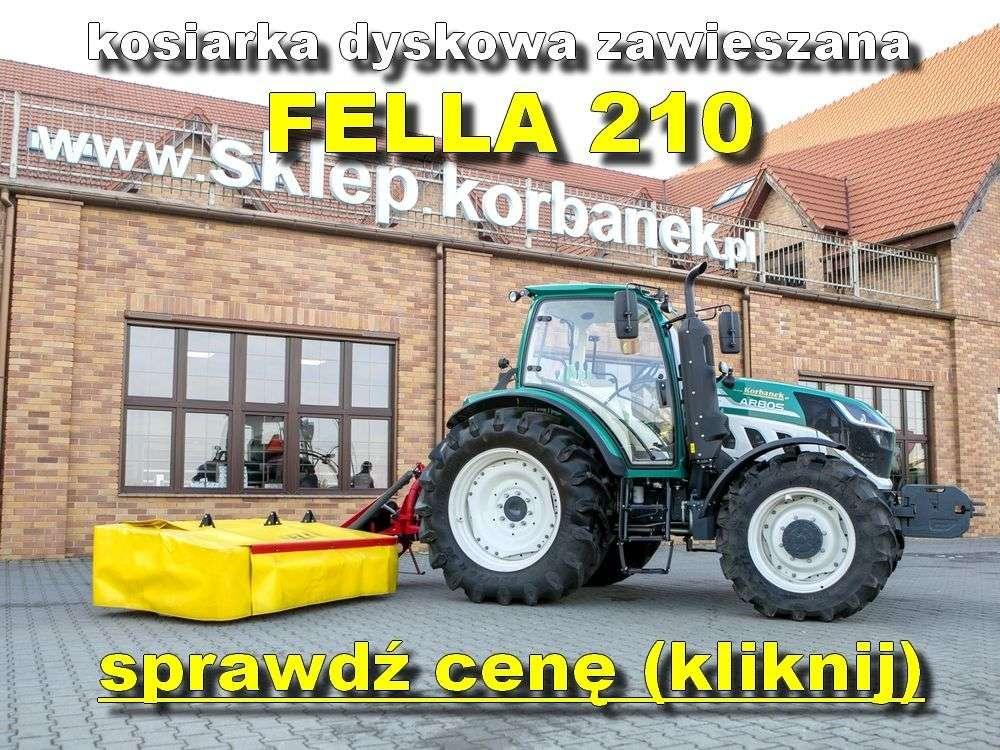 Fella 210 kosiarka zawieszana na tle magazynu części www.korbanek.pl