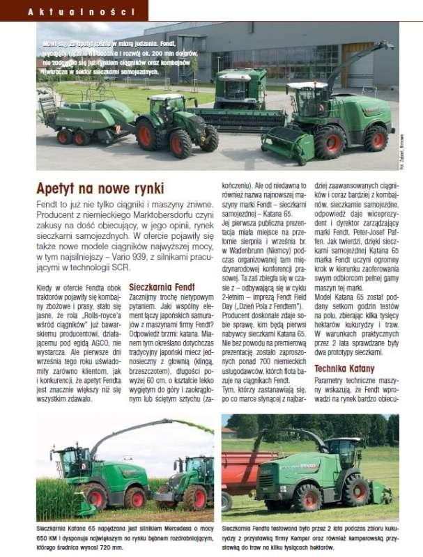 AGROmechanika  numer 11/2010 artykuł o nowościach firmy Fendt