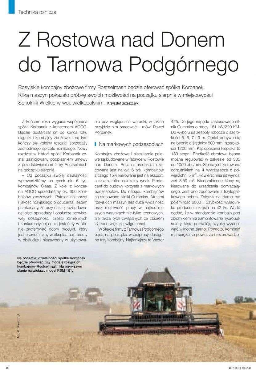 oferta firmy korbanek rosyjskie kombajny Rostselmash artykuł w gazecie Technika Rolnicza