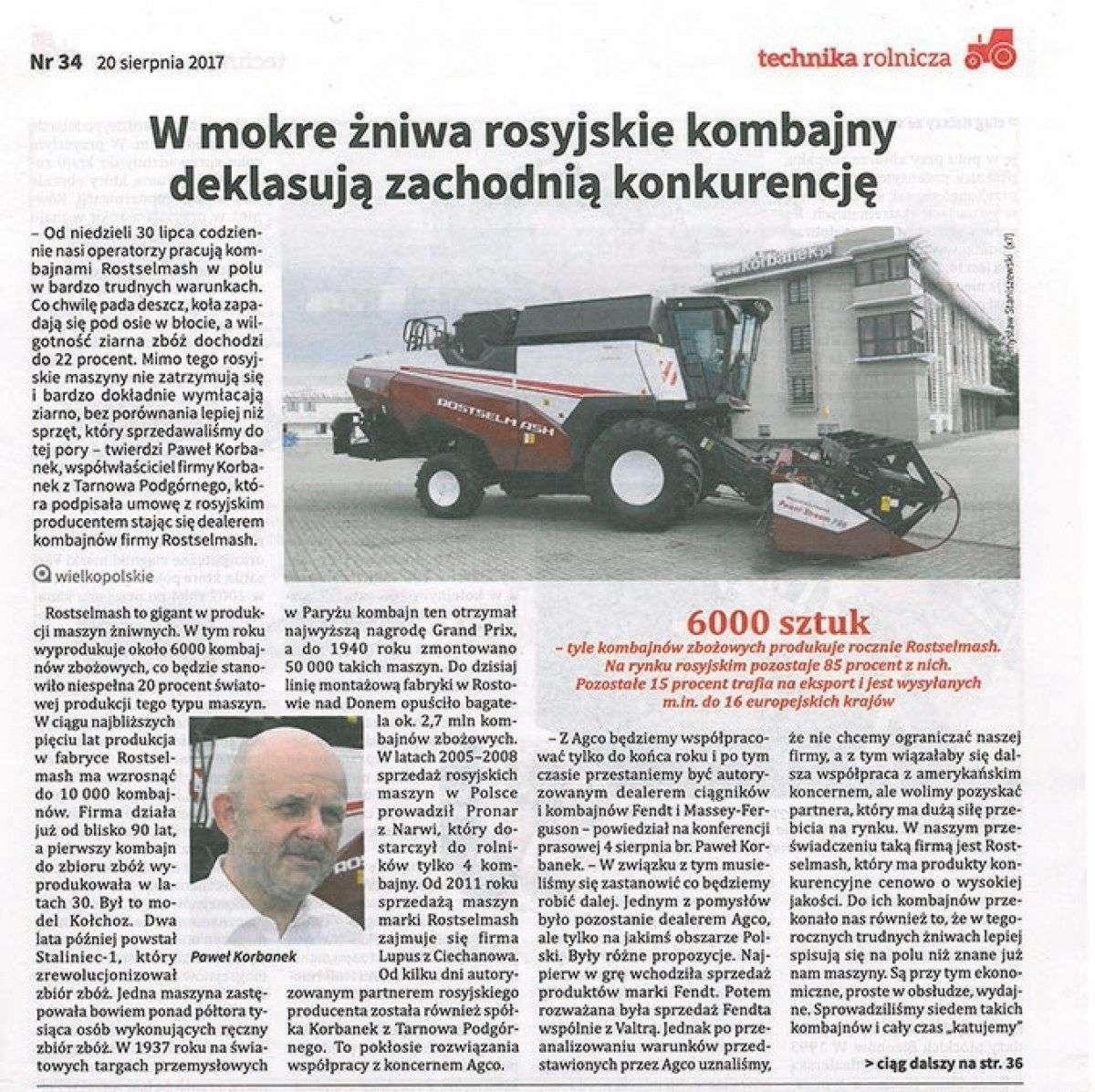artykuł prasowy o mokrych żniwach i kombajnach Rostselmash korbanek.pl