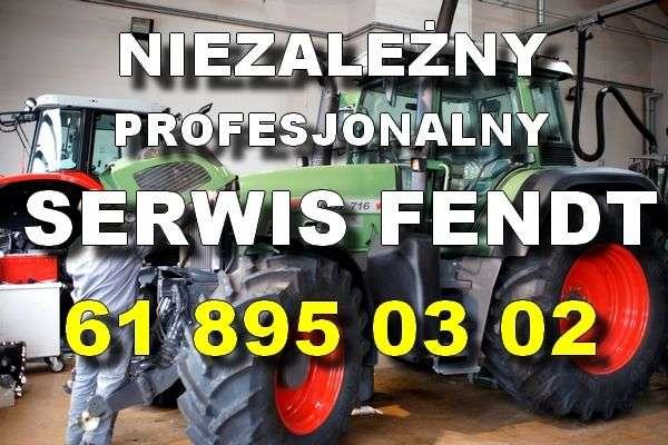 Biały napis SERWIS FENDT na tle ciągnika Fendt i Massey Ferguson