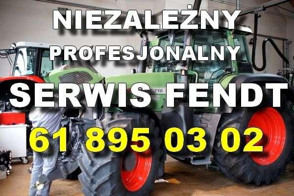 Profesjonalny serwis Fendt biały napis na tle ciągnika Fendt