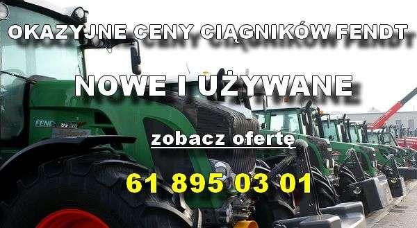 Ciągniki rolnicze Fendt z przednimi obciążnikami na utwardzonym placu w oferty korbanek.pl