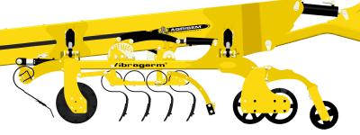 Agrisem VIBROGERMmogą byćwyposażone w 4 rzędy zębów prostych sprężystych rysunek maszyny na białym tle Korbanek.pl