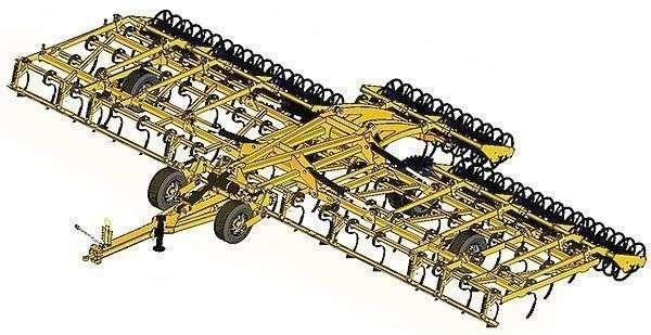 Rysunek agregatu z zębami sprężystymi AGRISEM VIBROMULCH o szerokości roboczej od 9 do 12 metrów Korbanek.pl