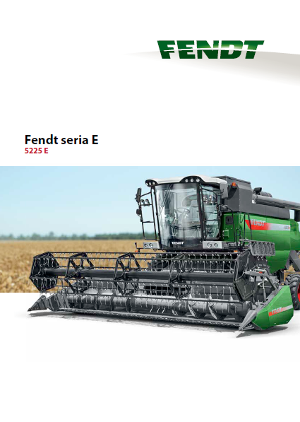 Kombajn zbożowy Fendt seria E 5225 E na tle pola ze zbożem