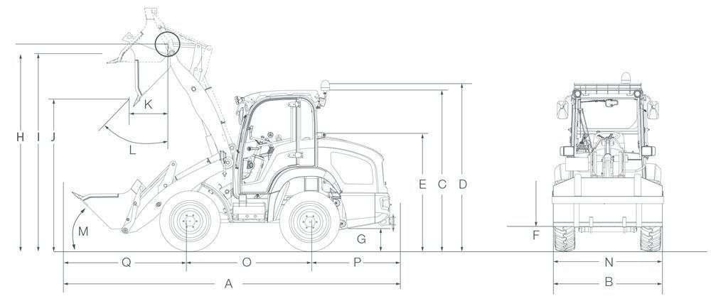 Wymiary ładowarki kołowej Kramer KL 25.5 e szkic ładowarki z łyżką do materiąłów sypkich widok boczny  i na przód maszyny