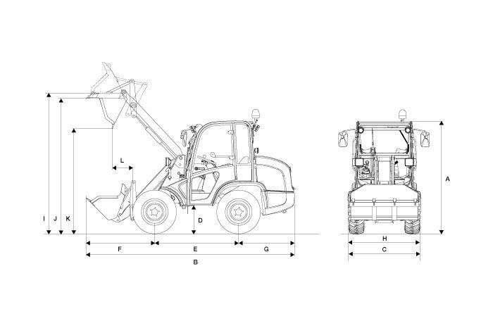 Rysunek czarno biały ładowarki kołowej Kramer KL 10.5 złyżka do materiałów sypkich  z wymiarami