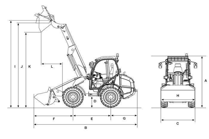 Rysunek zawierający wymiary techniczne ładowarki Kramer.