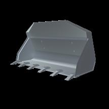 Łyżka standardowa z zębami kompatybilna z ładowarkami Kramer stosowana do przewozu towarów oraz rozładuku i załadunku