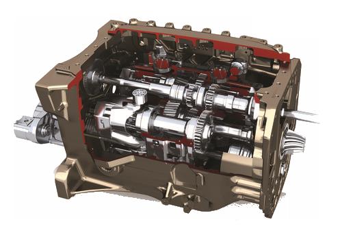 schemat budowy skrzyni przekładni DYNA VT w ciągnikach Massey Ferguson serii 7600