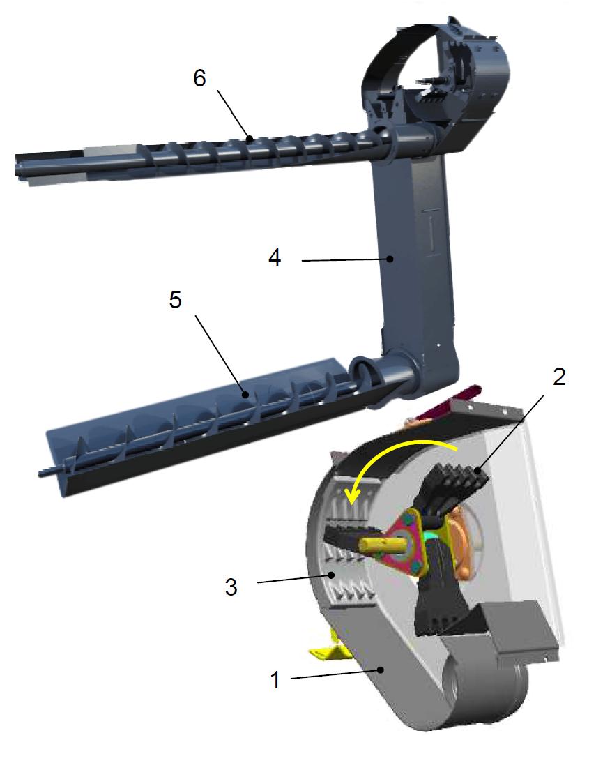 Rostselmash Vector 425 przekrój elementów w systemie domłacania