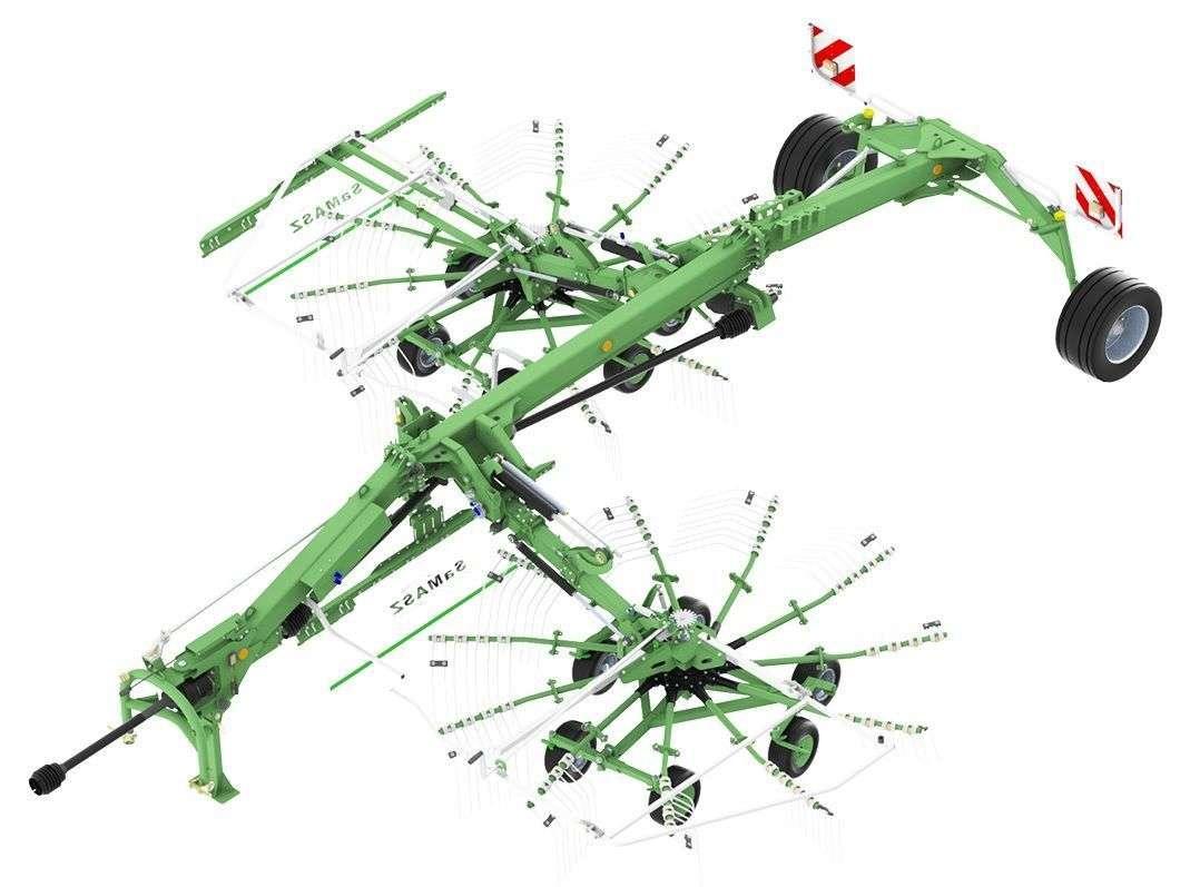 Zgrabiarka TANGO 730 przy ustawieniu karuzel blisko dyszla uzyskuje się jeden wałek, przy rozsunięciu karuzel na zewnątrz uzyskuje się 2 wałki