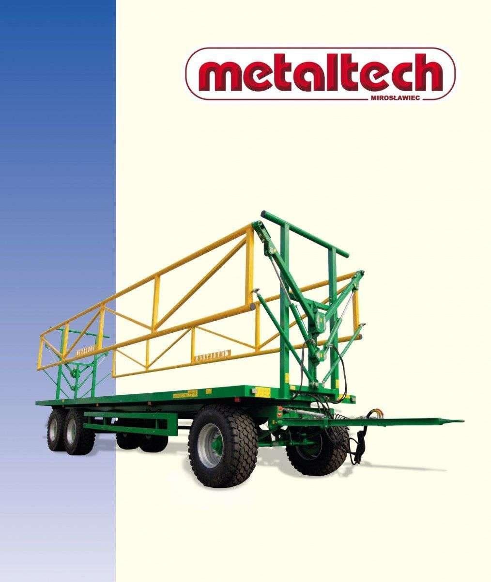 Przyczep firmy Metaltech seria PB zdjęcie z prawej strony powyżej logo Metaltech