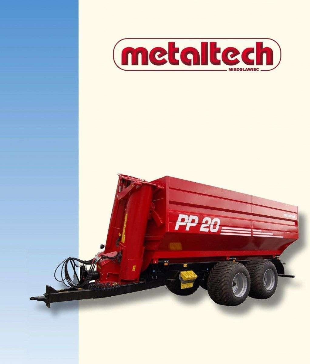 Przyczepa rolnicza firmy  Metaltech seria PP widok z lewej strony na jasnym tle