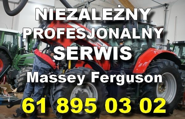 Profesjonalny serwis Massey Ferguson napis na tle ciagnika MF
