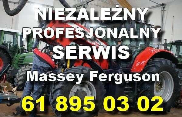 Serwis Massey Ferguson na tle ciągnika MF w hali warsztatowej