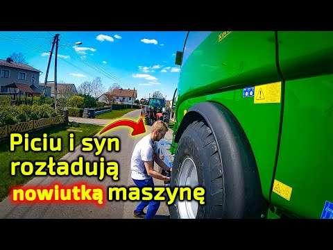 Embedded thumbnail for Potrzebny jest ciągnik Fendt Piciu i syn przywieźli prasę McHale Rozładunek na szosie