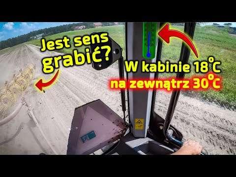 Embedded thumbnail for Na zewnątrz 30°, w kabinie ciągnika 18°Jaro225 lata zgrabiarką gwiazdową w truskawkach